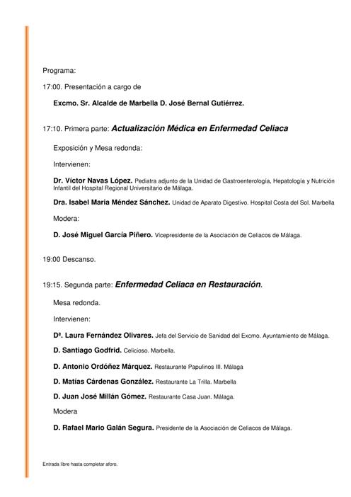 Jornada sobre Enfermedad Celiaca en Marbella. Programa.